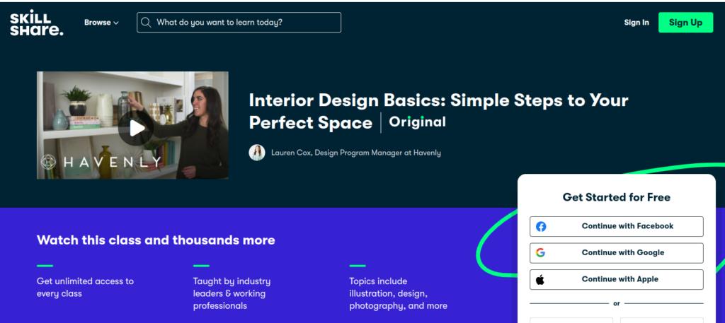 Один из курсов по дизайну интерьера