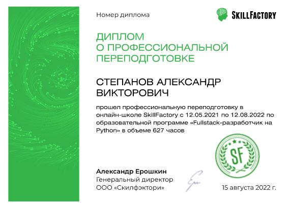 Фуллстак разработка - сертификат